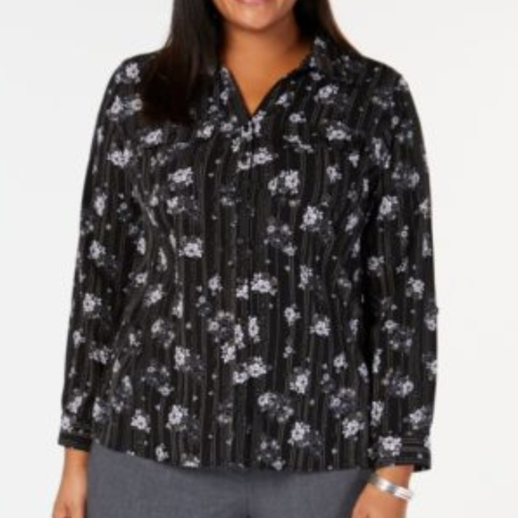 NY Collection Tops - NY Collection Black Floral Button Down Top